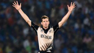 New Zealander bowler Mitchell Santner celebrates 300x170