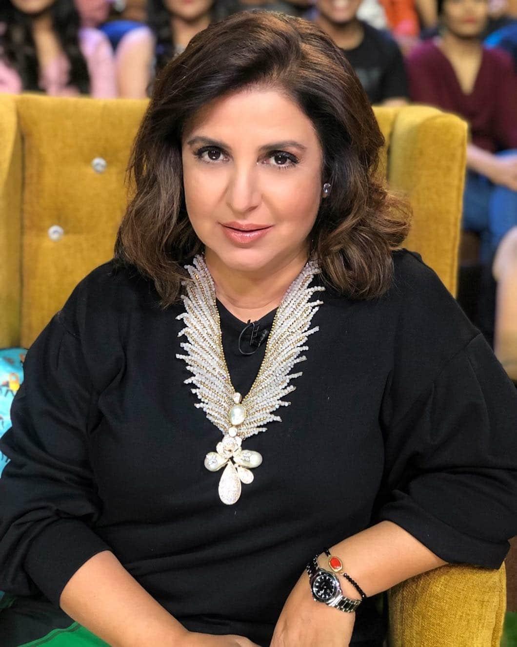Farah Khan black dress