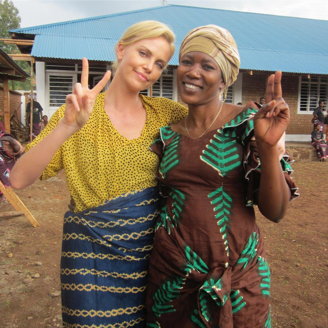 Charlize Theron somewhere in Africa