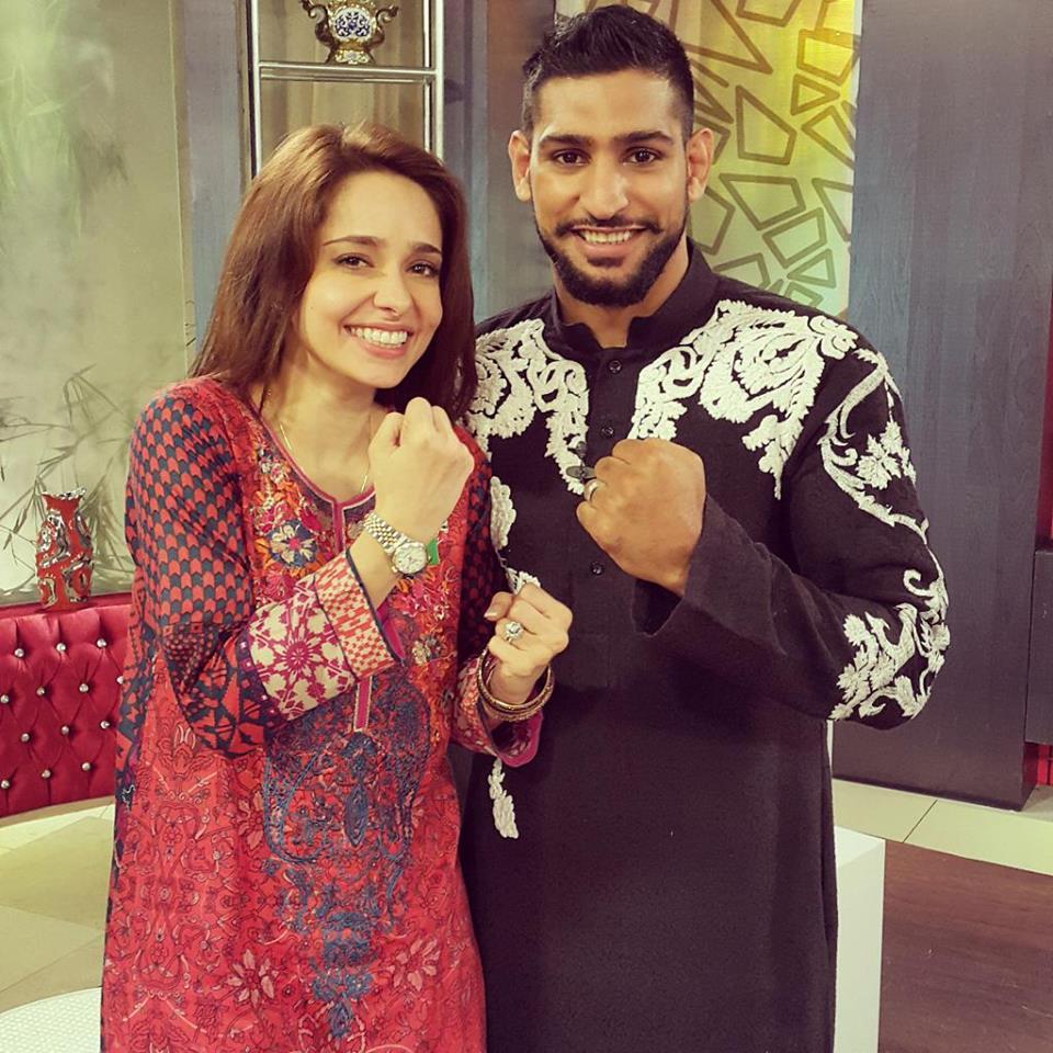 Juggun Kazim with boxer aamir khan
