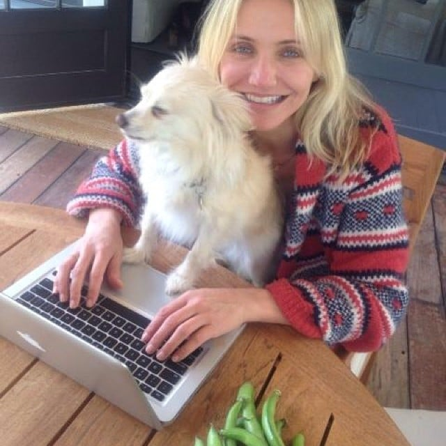 cameron diaz with her dog
