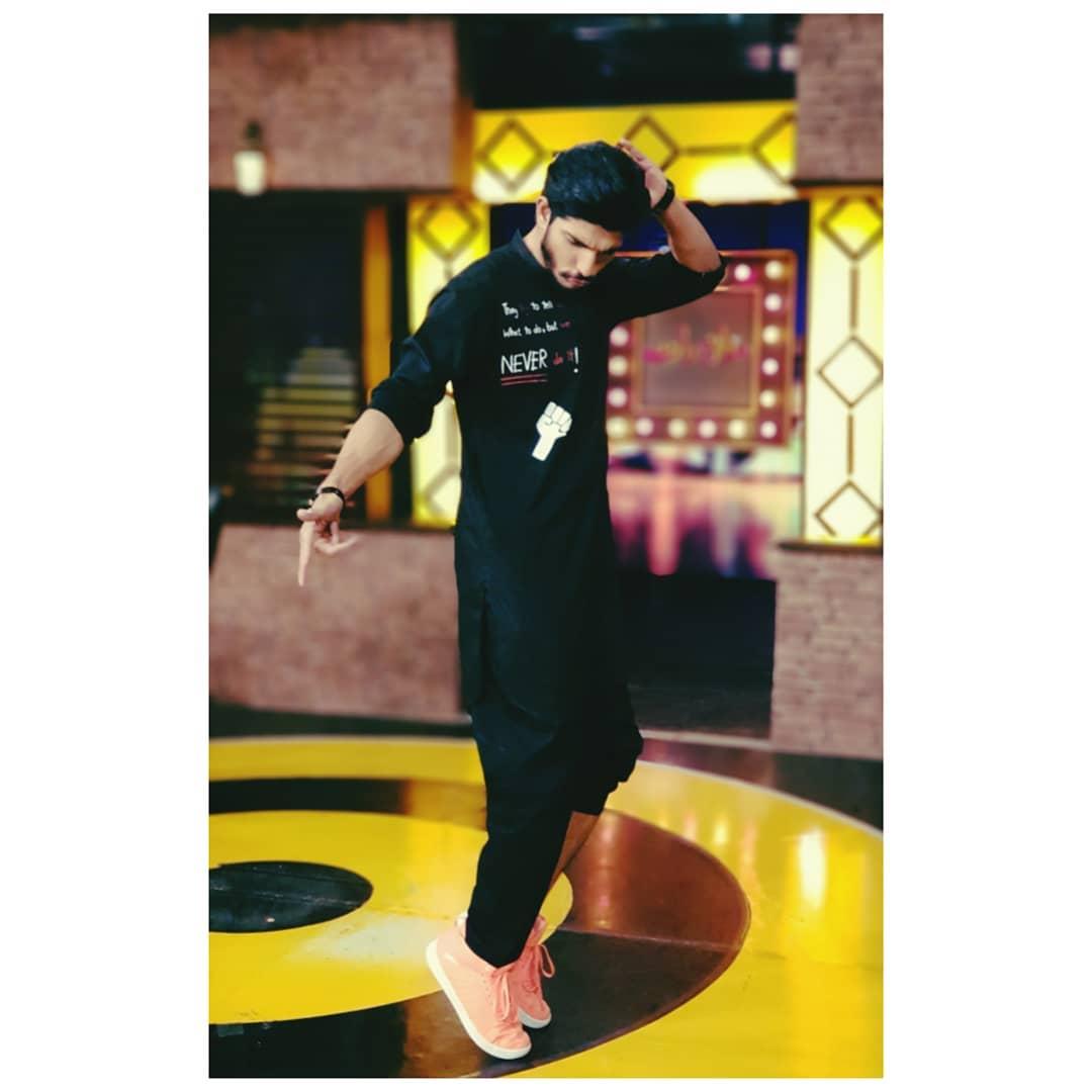 Mohsin Abbas Haider black suit