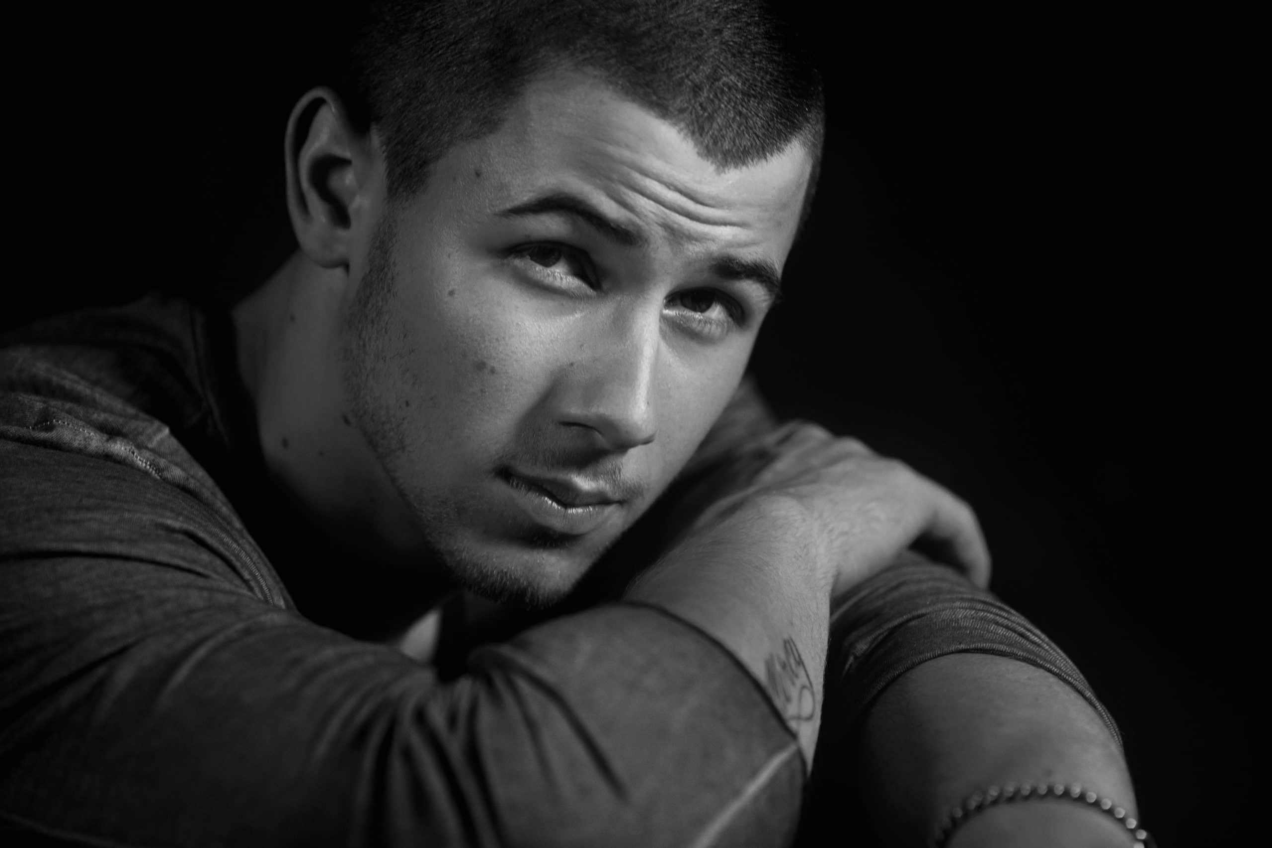 Nick Jonas black and white
