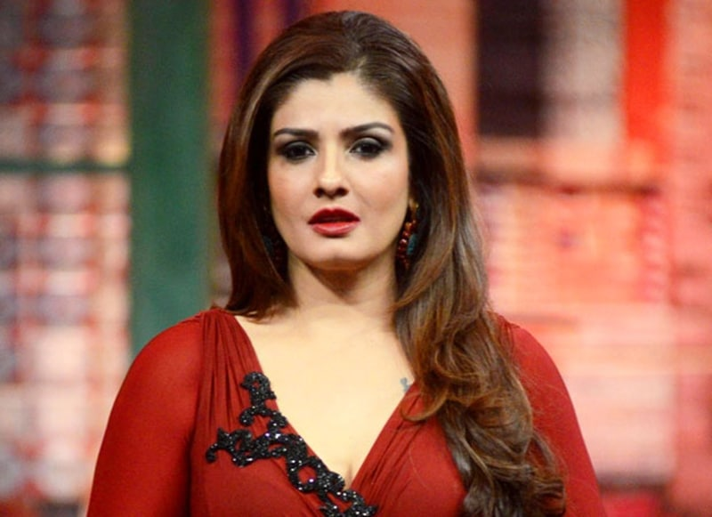 Raveena Tandon in red dress