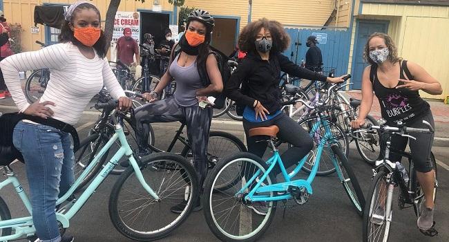 Nadine Ellis and her friends enjoying cycling