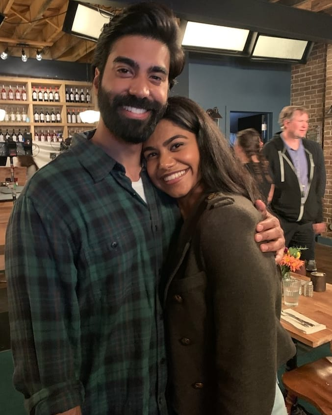 Raymond with his sister on set
